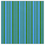 [ Thumbnail: Blue & Dark Green Lines Pattern Fabric ]