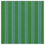 [ Thumbnail: Blue & Dark Green Pattern Fabric ]
