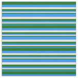 [ Thumbnail: Blue, Dark Green & White Stripes Fabric ]