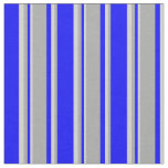 [ Thumbnail: Blue, Dark Grey, and Light Grey Stripes Fabric ]