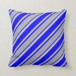 [ Thumbnail: Blue, Dark Grey, and Light Grey Stripes Pillow ]