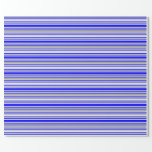 [ Thumbnail: Blue, Dark Grey & Lavender Striped Pattern Wrapping Paper ]