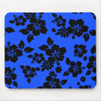 Blue Dark Hawaiian Pattern Mouse Pad