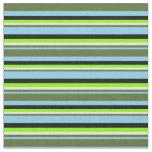 [ Thumbnail: Blue, Dark Olive Green, Beige, Chartreuse & Black Fabric ]