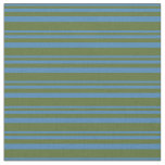 [ Thumbnail: Blue & Dark Olive Green Colored Pattern Fabric ]