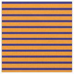 [ Thumbnail: Blue & Dark Orange Lined/Striped Pattern Fabric ]