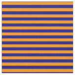[ Thumbnail: Blue & Dark Orange Stripes Pattern Fabric ]