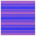 [ Thumbnail: Blue & Dark Orchid Lined Pattern Fabric ]