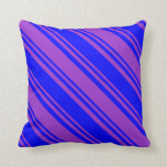 [ Thumbnail: Blue & Dark Orchid Lined Pattern Throw Pillow ]