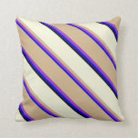 [ Thumbnail: Blue, Dark Orchid, Tan, Beige & Black Colored Throw Pillow ]