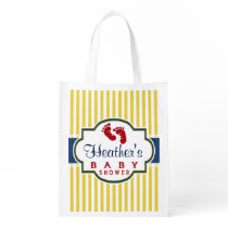 Blue, Dark Red, Yellow Stripes Baby Shower Reusable Grocery Bag
