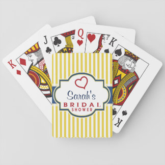 Blue, Dark Red, Yellow Stripes Bridal Shower Deck Of Cards