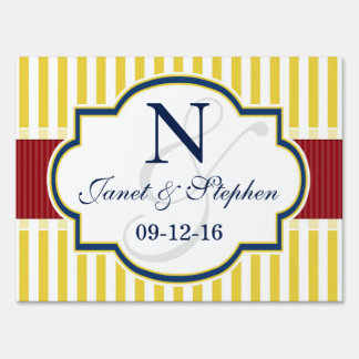 Blue, Dark Red, Yellow Stripes Wedding Signs