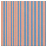 [ Thumbnail: Blue & Dark Salmon Colored Pattern of Stripes Fabric ]
