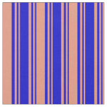 [ Thumbnail: Blue & Dark Salmon Colored Striped Pattern Fabric ]