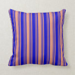 [ Thumbnail: Blue & Dark Salmon Colored Striped Pattern Pillow ]