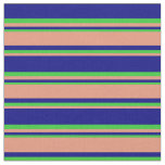 [ Thumbnail: Blue, Dark Salmon & Lime Green Striped Pattern Fabric ]