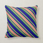 [ Thumbnail: Blue, Dark Salmon & Lime Green Striped Pattern Throw Pillow ]