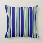 [ Thumbnail: Blue, Dark Sea Green & Beige Colored Pattern Throw Pillow ]