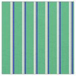 [ Thumbnail: Blue, Dark Sea Green, Light Yellow, and Sea Green Fabric ]