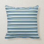 [ Thumbnail: Blue, Dark Slate Gray, and Mint Cream Colored Throw Pillow ]