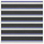 [ Thumbnail: Blue, Dark Slate Gray, Mint Cream, Grey & Black Fabric ]