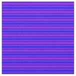 [ Thumbnail: Blue & Dark Violet Striped Pattern Fabric ]