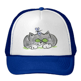 Blue Darning Needle and Gray Kitten Trucker Hat