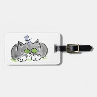 Blue Darning Needle and Gray Kitten Bag Tag