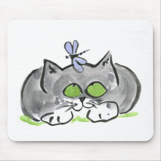 Blue Darning Needle and Gray Kitten Mouse Pad