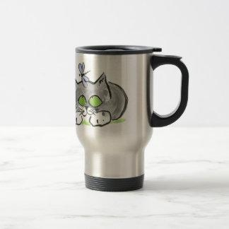 Blue Darning Needle and Gray Kitten Travel Mug