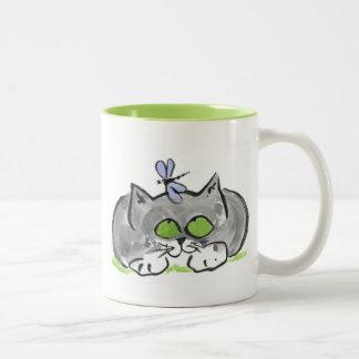 Blue Darning Needle and Gray Kitten Two-Tone Coffee Mug