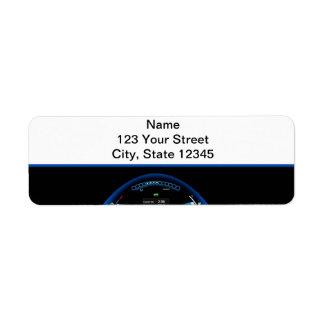 Blue Dashlight on Black Border Label