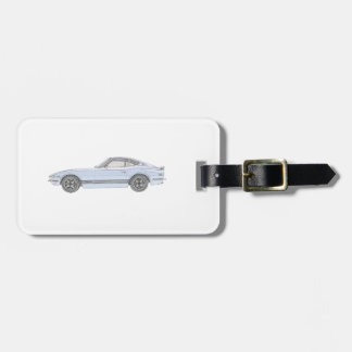 Blue Datsun 240Z Pencil Style Rendering Bag Tag
