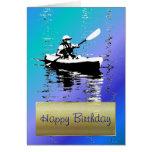 Blue Day Kayak Happy Birthday Card