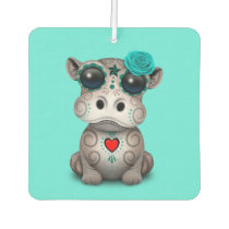 Blue Day of the Dead Baby Hippo Car Air Freshener