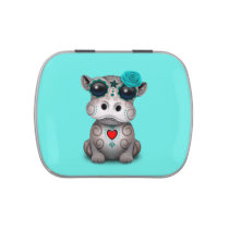 Blue Day of the Dead Baby Hippo Jelly Belly Tin