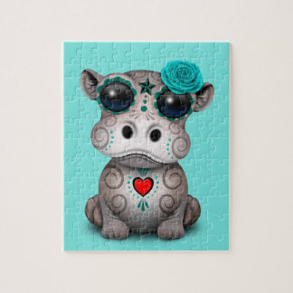 Blue Day of the Dead Baby Hippo Jigsaw Puzzle