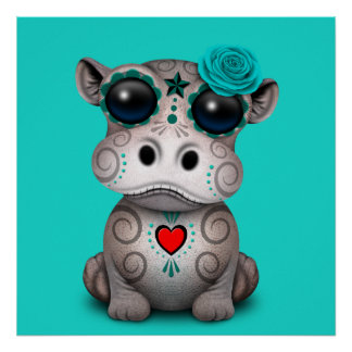 Blue Day of the Dead Baby Hippo Poster