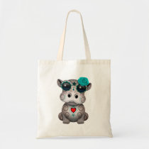 Blue Day of the Dead Baby Hippo Tote Bag