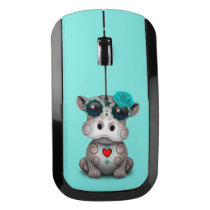 Blue Day of the Dead Baby Hippo Wireless Mouse