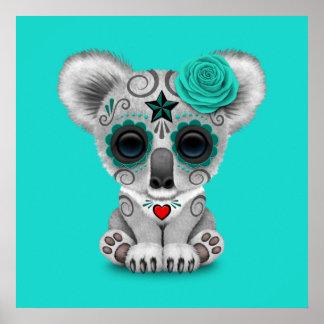Blue Day of the Dead Baby Koala Poster