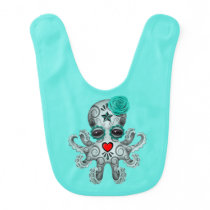 Blue Day of the Dead Baby Octopus Baby Bib