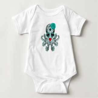 Blue Day of the Dead Baby Octopus Baby Bodysuit