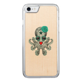 Blue Day of the Dead Baby Octopus Carved iPhone 7 Case