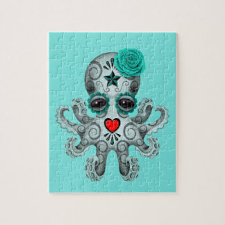 Blue Day of the Dead Baby Octopus Jigsaw Puzzle