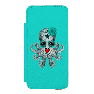 Blue Day of the Dead Baby Octopus Wallet Case For iPhone SE/5/5s