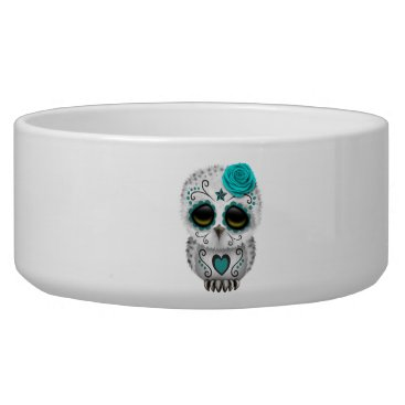 Halloween Themed Blue Day of the Dead Baby Owl Bowl