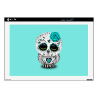 Blue Day of the Dead Baby Owl Decal For Laptop