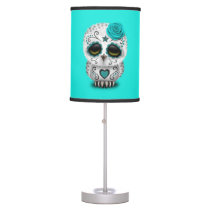 Blue Day of the Dead Baby Owl Desk Lamp